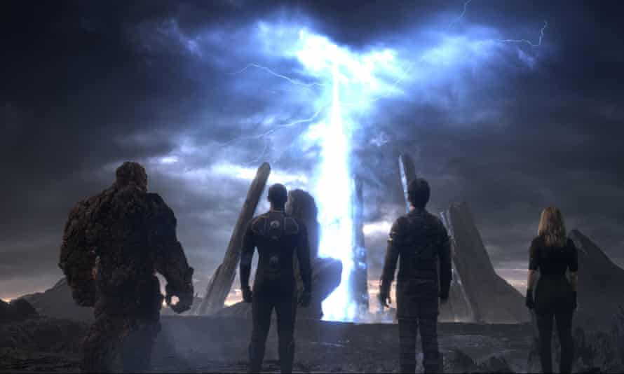 "This photo provided by courtesy Twentieth Century Fox shows, The Thing, from left, Michael B. Jordan as Johnny Storm, Miles Teller as Dr. Reed Richards, and Kate Mara as Sue Storm, in a scene from the film, ""Fantastic Four."""