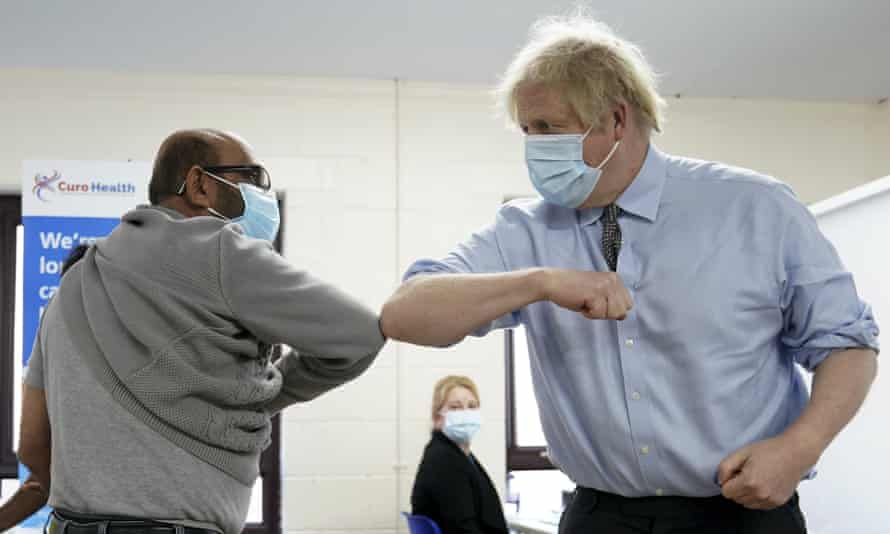 Johnson visits a Covid vaccination centre in Batley, West Yorkshire