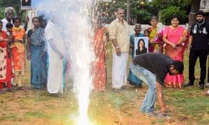 People light firecrackers in Thulasendrapuram