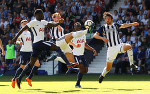 West Bromwich Albion's Craig Dawson beats Tottenham's Davinson Sanchez to the ball as The Baggies win 1-0 at the Hawthorns thanks to an injury time winner from Jake Livermore, giving them a chance of avoiding relegation.