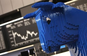 A bull made with Lego blocks at the Frankfurt stock exchange.