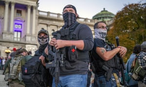 Armed Trump supporters in Harrisburg.