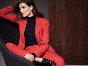 Masculine tailoring in a bold hue gives a modern twist to a classic trouser suit.