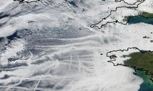 Ship tracks off the coast of Cornwall.