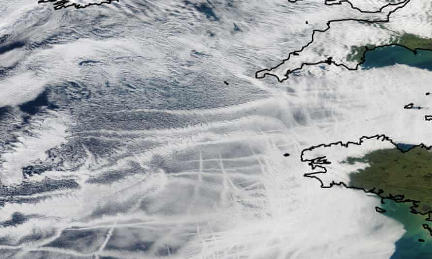 Ship tracks off the coast of Cornwall.