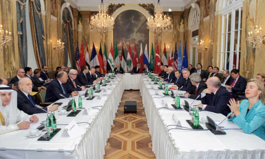 Participants in the Syria talks at the Hotel Imperial in Vienna.
