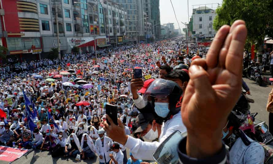 Demonstrators protest against the military coup in Mandalay, Myanmar.