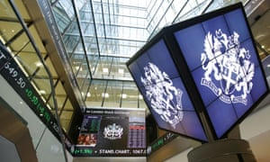 A display screen shows the FTSE 100 at the London Stock Exchange.