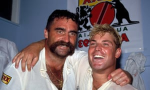 Australian bowlers Merv Hughes (left) and Shane Warne celebrate after the first Test in Manchester in 1993.