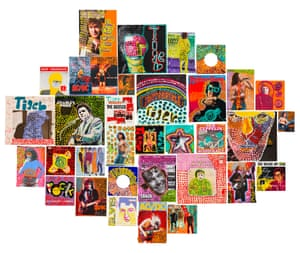 """Rock n Roll 2020 by Tiger Yaltangki. Synthetic polymer on 12"""" and 7"""" record sleeves, magazine pages, book covers, posters, postcards. A finalist in the 2020 Natsiaas. Iwantja Art."""