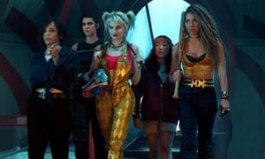 Rosie Perez, Jurnee Smollett-Bell, Mary Elizabeth Winstead, Margot Robbie, and Ella Jay Basco in Birds of Prey.