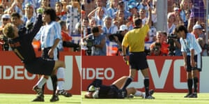 Argentina's Ariel Ortega plants one on Holland's goalkeeper Edwin Van Der Sar and Mexican referee Arturo Brizio Carter shows him the red card.