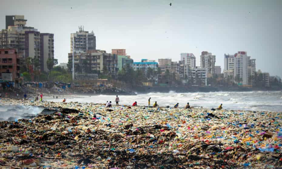 The litter-strewn Versova beach in Mumbai
