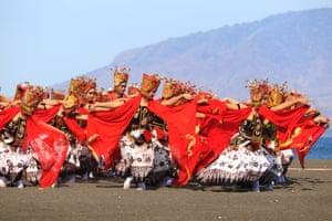 East Java, Indonesia: dancers perform at the Gandrung Sewu festival on the coast of Banyuwangi