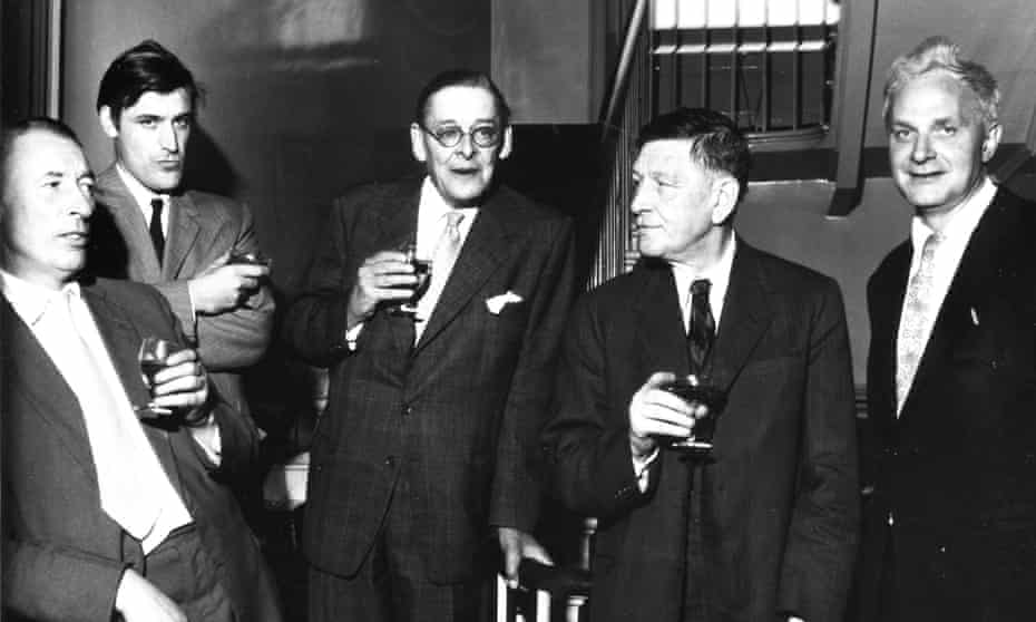 Louis Macneice, Ted Hughes, Faber & Faber 'supreme pontiff' TS Eliot, WH Auden and Stephen Spender.