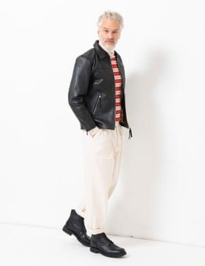 model wears jacket, £225, weekday.com. Roll neck, £143, woodwood.com. Jeans, £220, woolrich.com. Boots, £445, grenson.com.