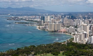 Honolulu, with Waikiki Beach in the foreground.