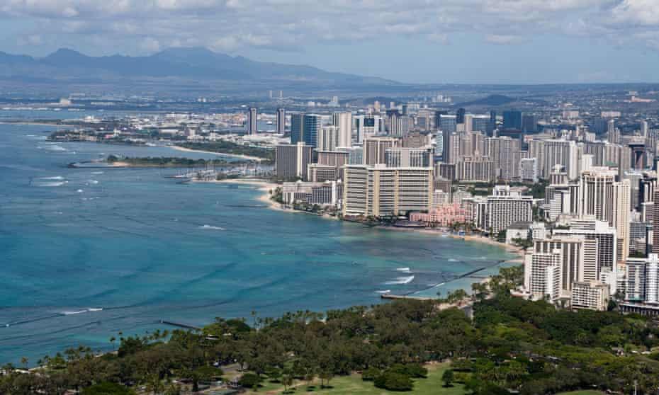 Honolulu, with Waikiki Beach in the foreground.