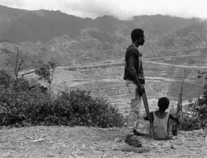 BRA guerillas above the captured Panguna copper and gold mine, Bougainville, 1994.