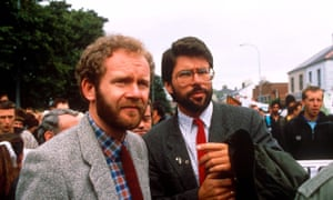 Martin McGuinness and Gerry Adams at a protest marking 20 years of the British army deployment in Northern Ireland, June 1989.