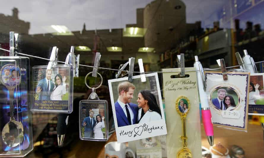 Wedding souvenirs are displayed in a gift shop in Windsor