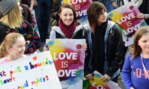 Supporters of marriage equality in Melbourne