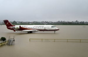 The flooded apron of Biratnagar airport after heavy rains in Biratnagar, some 240km from Nepal's capital Kathmandu