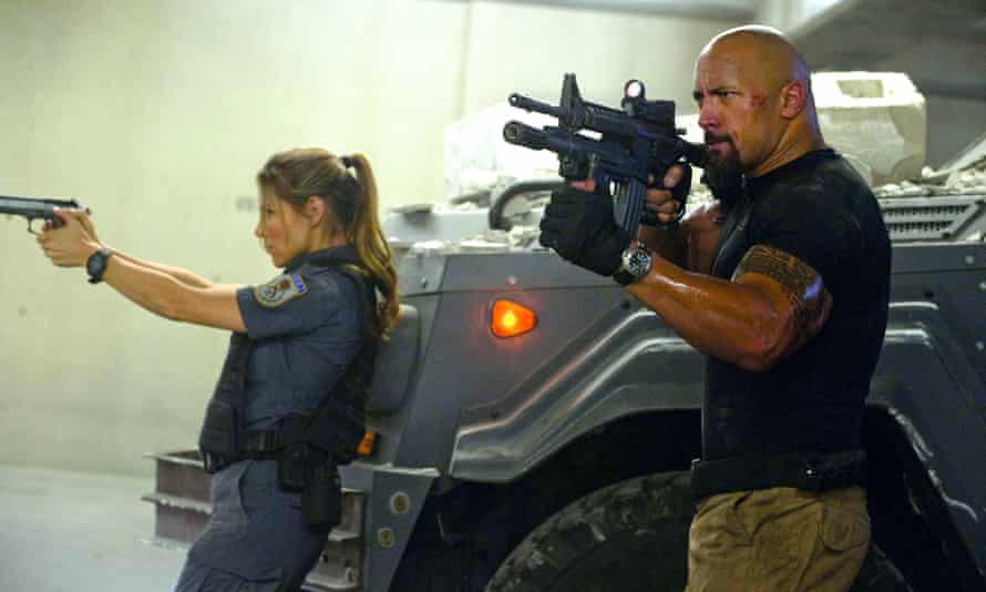 Elsa Pataky and Dwayne Johnson in the 2011 Fast Five: Fast & Furious.