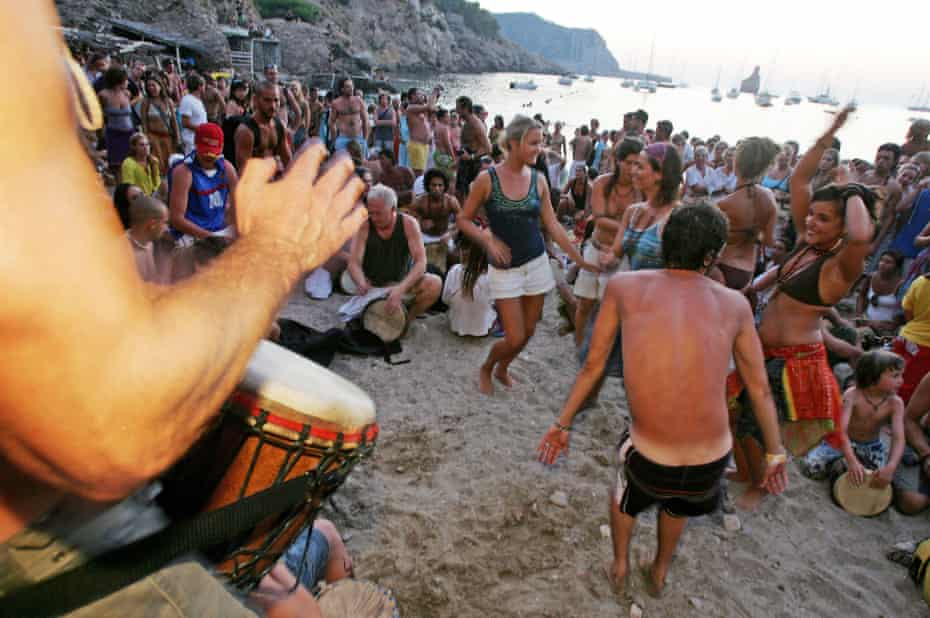 A sunset beach party on Ibiza … a disappearing sight, now it chases the luxury market?