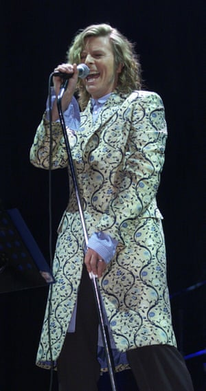 Bowie played Glastonbury twice – once in 1971 in an embroidered hat bought by his wife Angie, and then in 2000, wearing this Alexander McQueen frockcoat.