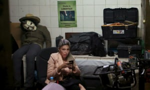 Gabriela Zapata sits at a police station in La Paz after she was detained by police in February as part of an investigation into alleged corruption.