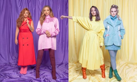 'With pop music if you go missing for more than a year, they've forgotten about you': (from left) Jade wears dress by Valentino, boots by Gianvito Rossi, jacket by Pinko Jeans; Jesy wears coat by Marni, shoes by Louboutin; Leigh-Anne wears dress by Marques Almeida, boots by Manolo Blanik; and Perrie wears top by Marni, coat by Natasha Zinko, and shoes by Sonia Rykiel