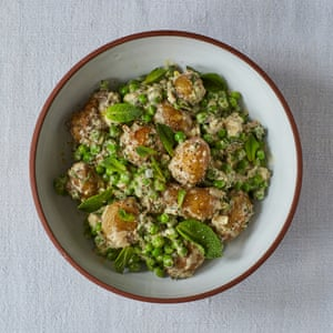 Robin Gill's salt-baked jersey royals with peas, mint and mustard