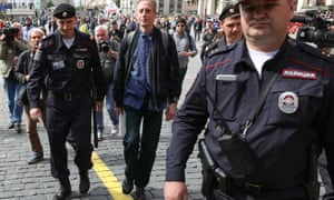 Gay rights campaigner Peter Tatchell in Moscow