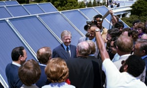 Jimmy Carter unveils the White House solar panels. His successor Ronald Reagan had them removed two years later.