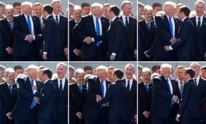 Donald Trump shakes hands with Emmanuel Macron