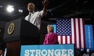 Barack Obama speaks during a campaign rally with Hillary Clinton.
