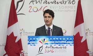 Justin Trudeau speaks during a news conference at the Francophonie Summit in Antananarivo, Madagascar.