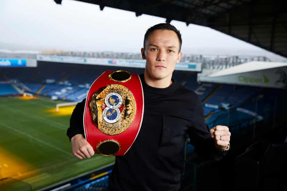 Josh Warrington at Elland Road, where he won the IBF featherweight world title belt against Lee Selby in May.