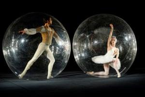 Stuttgart, Germany. Ballet dancers Elisa Badenes and Friedemann Vogel take part in Florian Mehnert's performance art piece, Social Distance Stacks