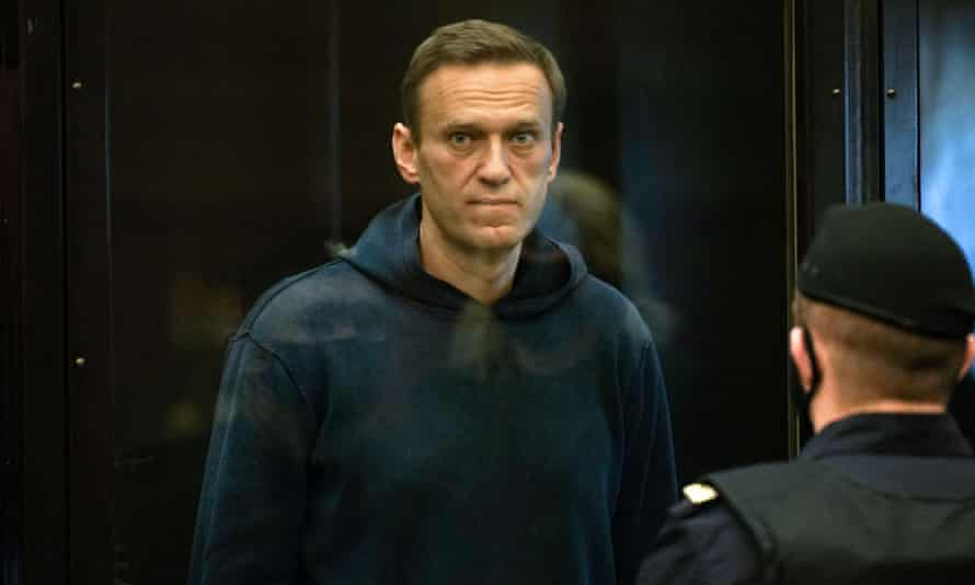 Alexei Navalny during a court hearing in Moscow