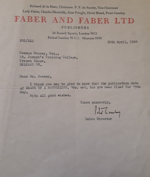 Seamus Heaney: Listen Now Again at National Library of Ireland, Dublin, July 2018 Faber Letter Death of A Naturalist