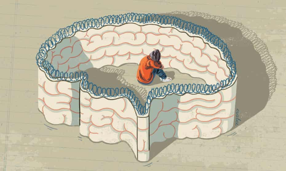 An illustration of a girl, sitting and hunched over her own legs, inside the outline of a brain