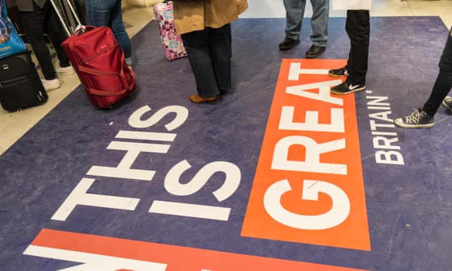 Passport control at the UK border crossing at Gare du Nord train station Paris