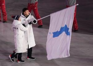 Unified Korea's joint flagbearers.