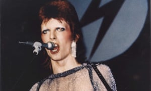 David Bowie performs at the Hammersmith Apollo, London, in Ziggy Stardust and the Spiders from Mars.