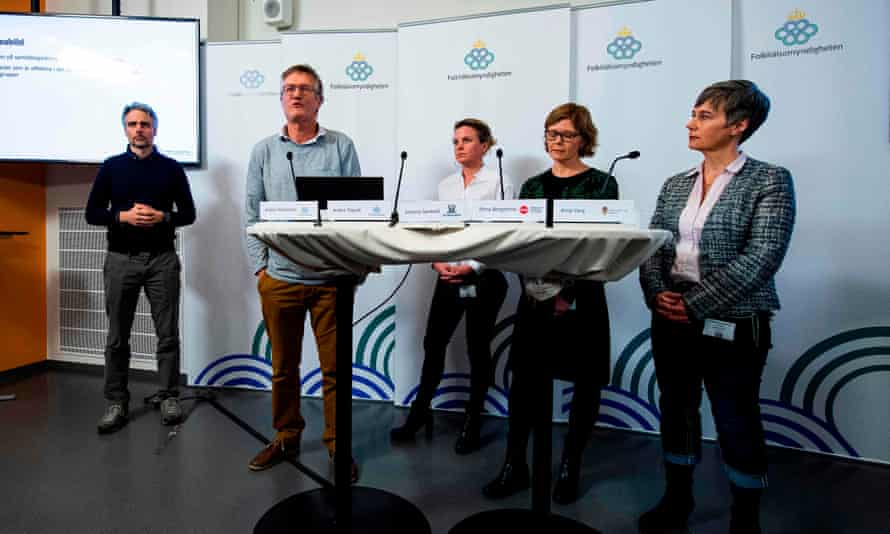 Anders Tegnell (second left) of Sweden's public health agency gives an update on coronavirus on Thursday.