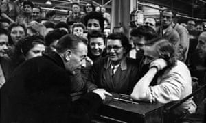 Wilfred Pickles rehearsing at a factory for Have a Go, 1947