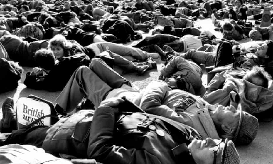 Ex-servicemen at the forefront of a CND mass 'die-in' at Barrow in 1984