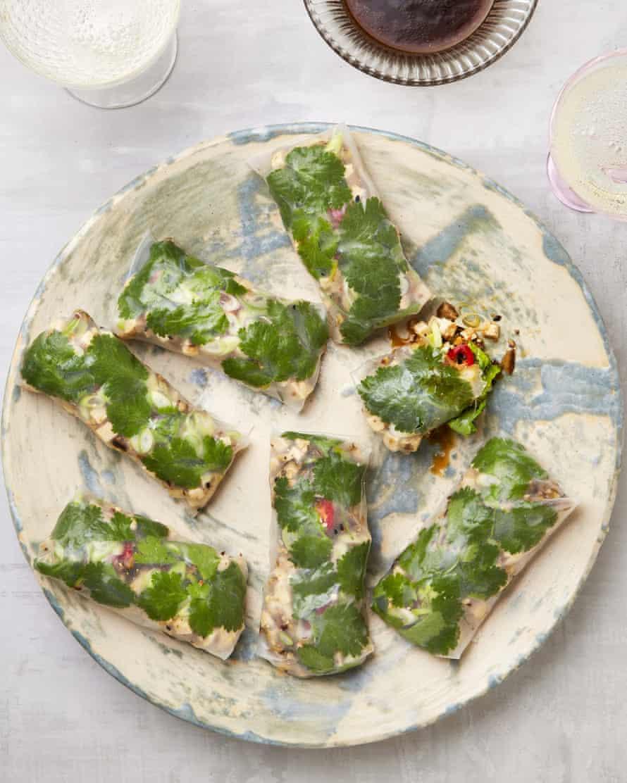 Finger-licking good: Yotam Ottolenghi's zingy tofu rice paper rolls.